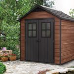 Keter Newton 757 Composite 7ft 6in x 7ft 4in Shed (Wood Brown)