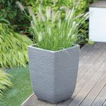 Stewart 33cm Cotswold Tall Square Planter (Limestone Grey)