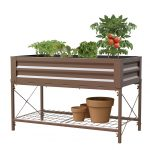 Panacea Stand Up Metal Raised Garden Planter with Liner (Timber Brown)