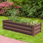Panacea Metal Raised Garden Planter with Liner (Timber Brown)