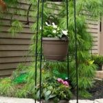 Panacea Tall Finial Top 3 Tier Plant Stand (Black)