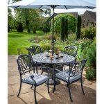 Hartman Amalfi 120cm Cast Aluminium Dining Set (Antique Grey/Platinum)