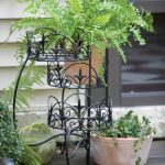 Panacea 3-Tier Folding Classic Finial Plant Stand (Black)