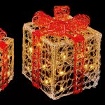 Premier 3PC Acrylic Clear and Red Parcels with Warm White LEDS