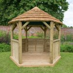 Forest Garden 3m Hexagonal Wooden Garden Gazebo with Thatched Roof – Terracotta Lining