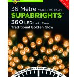 Premier Supabright Multi Action 36m LED Christmas Lights (Traditional Golden Glow)