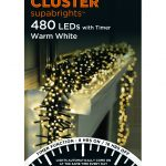 Premier Cluster Supabright Multi-Action 6.2m LED Christmas Lights (Warm White)