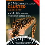 Premier Cluster Supabright Multi-Action 9.3m LED Christmas Lights (Traditional Golden Glow)