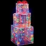 Premier Lit Soft Acrylic Red Parcels 105cm with Multi LEDs Outdoor Christmas Decorations