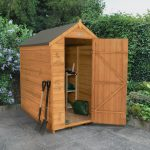 Forest Garden Apex Overlap Dipped No Window 6 x 4 Wooden Garden Shed (ASSEMBLED)