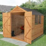 Forest Garden Apex Overlap Dipped Double Door 8 x 6 Wooden Garden Shed (ASSEMBLED)