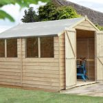 Forest Garden Overlap Pressure Treated 10×10 Apex Shed with Double Door