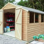 Forest Garden Overlap Pressure Treated 10×15 Apex Shed with Double Door