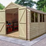 Forest Garden Overlap Pressure Treated 10×20 Apex Shed with Double Door