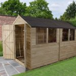 Forest Garden Apex Overlap Pressure Treated Double Door 10 x 6 Wooden Garden Shed