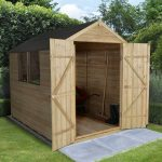 Forest Garden Apex Overlap Pressure Treated Double Door 8 x 6 Wooden Garden Shed (ASSEMBLED)