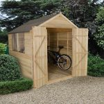 Forest Garden Apex Overlap Pressure Treated Double Door 7 x 7 Wooden Garden Shed (ASSEMBLED)