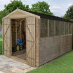 Forest Garden Overlap Pressure Treated 12×8 Apex Shed with Double Door
