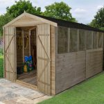Forest Garden Apex Overlap Pressure Treated Double Door 12 x 8 Wooden Garden Shed(ASSEMBLED)