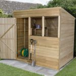 Forest Garden Pent Overlap Pressure Treated 5 x 7 Wooden Garden Shed (ASSEMBLED)