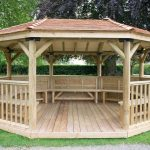 Forest Garden 5.1m Premium Oval Wooden Gazebo with Cedar Roof and Benches