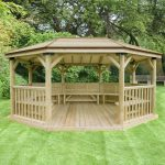 Forest Garden 5.1m Premium Oval Wooden Gazebo with Timber Roof and Benches