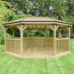 Forest Garden 5.1m Premium Oval Wooden Gazebo with Timber Roof