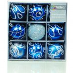 Premier Christmas Midnight Blue Decorated Bauble Balls