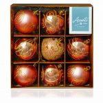 Premier 9 x 60mm Rose Gold Decorated Baubles