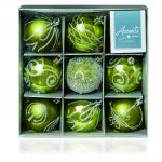 Premier 9 x 60mm Green Decorated Baubles