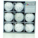 Premier Christmas White Decorated Bauble Balls