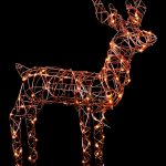 Premier 1M Rattan Look Reindeer Standing with 100 White/Warm White LEDS