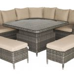 LG Outdoor Monaco Oak Large Square Dining Modular with Adjustable Table (Sepia /Beige)