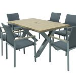LG Outdoor Siena 6 Seat Dining Set with Stacking Chair (Light/Modern Grey)