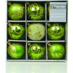 Premier Christmas Apple Green Decorated Bauble Balls
